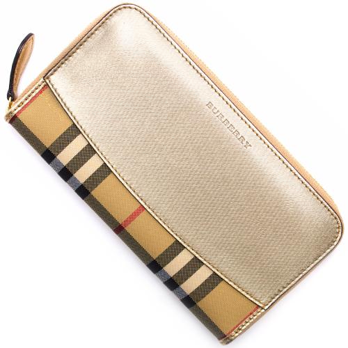 バーバリー 長財布 財布 レディース ホースフェリーチェック ゴールド 3996736 71200 BURBERRY