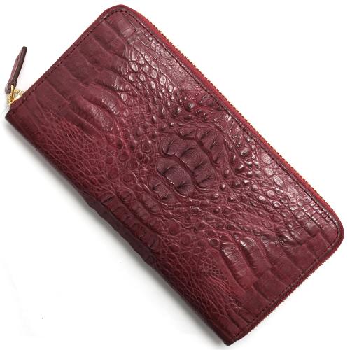 本革 長財布 財布 メンズ レディース カイマンワニ 【CAIMAN GENUINE】 ワイン CJN0477A WEMT Leather
