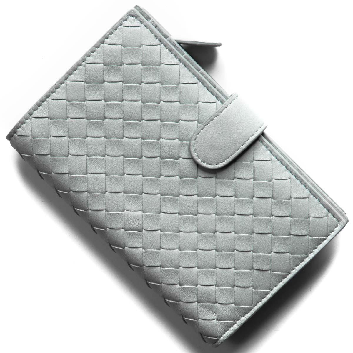 ボッテガヴェネタ (ボッテガ・ヴェネタ) 二つ折り財布 財布 レディース イントレチャート ナッパ アンティークブルー 121060 V001N 4916 BOTTEGA VENETA