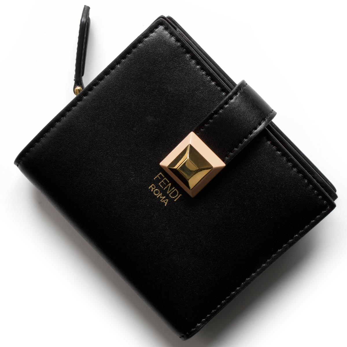 fc873ff960fc フェンディ二つ折り財布/ミニ財布財布レディーススタッズブラック&アプリコットピンク8M0386SR0F13JQFENDI