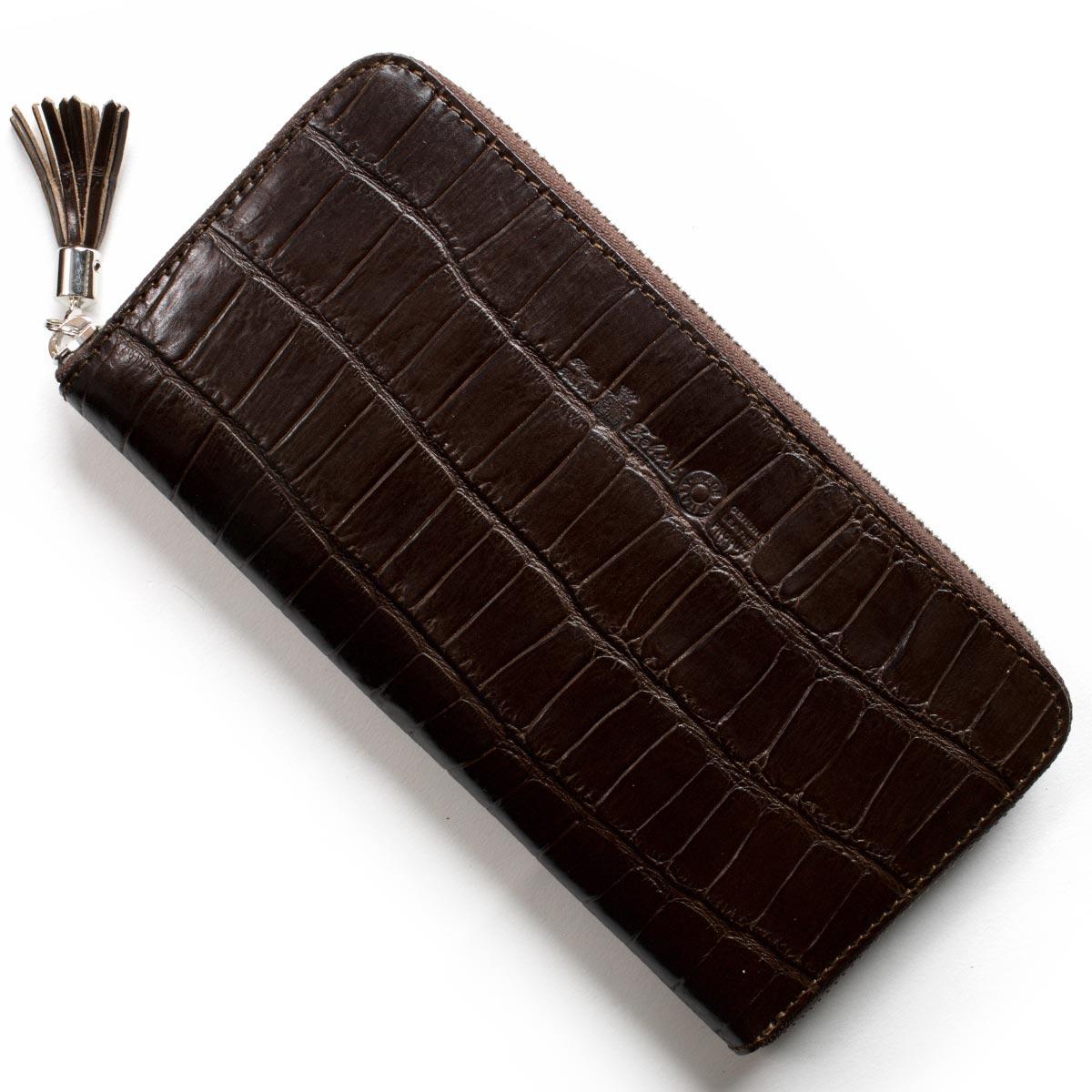 フェリージ 長財布 財布 メンズ レディース クロコ型押し モロダークブラウン 913 SA 0002 FELISI