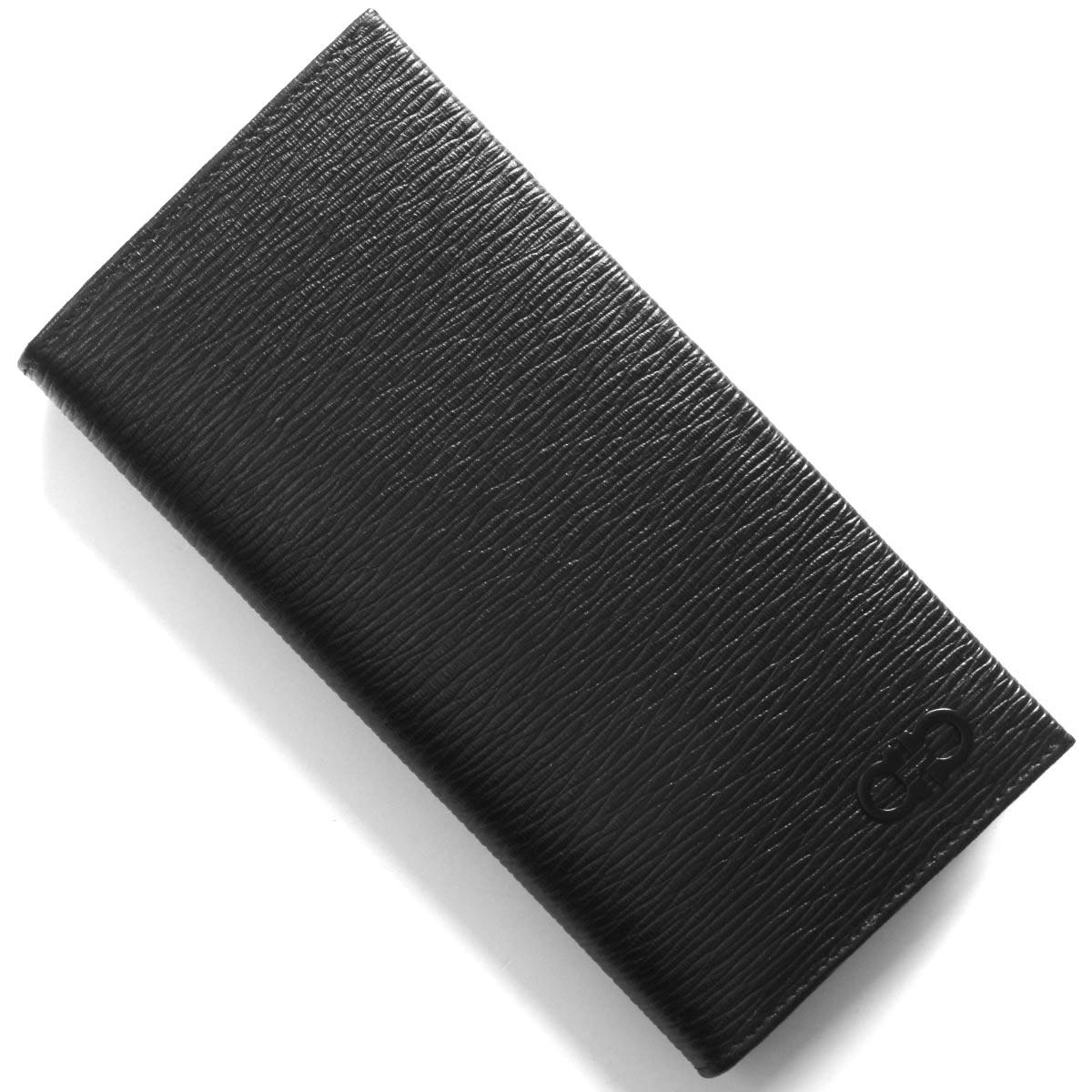 フェラガモ 長財布 財布 メンズ リバイバル ダブル ガンチーニ ブラック&ミルキーシーグリーン 66A069 NERO 0733362 SALVATORE FERRAGAMO