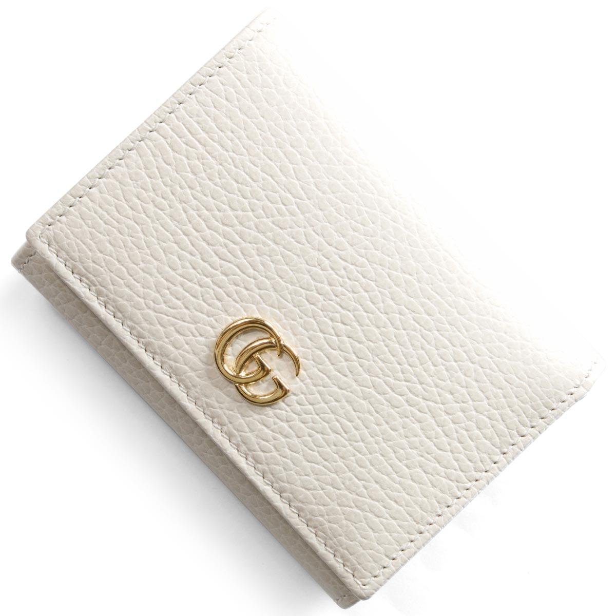 6efe53fa66b7 グッチ 三つ折り財布 財布 レディース プチマーモント オフホワイト 474746 CAO0G 9022 GUCCI