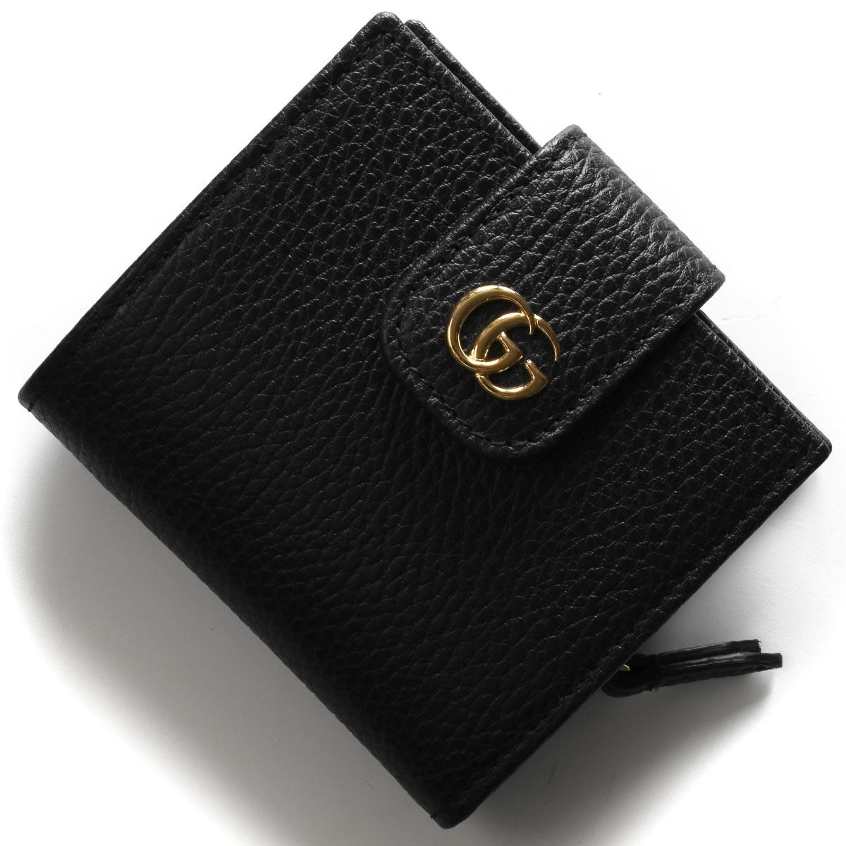 グッチ 二つ折り財布 財布 レディース プチGGマーモント ブラック 523193 CAO0G 1000 GUCCI
