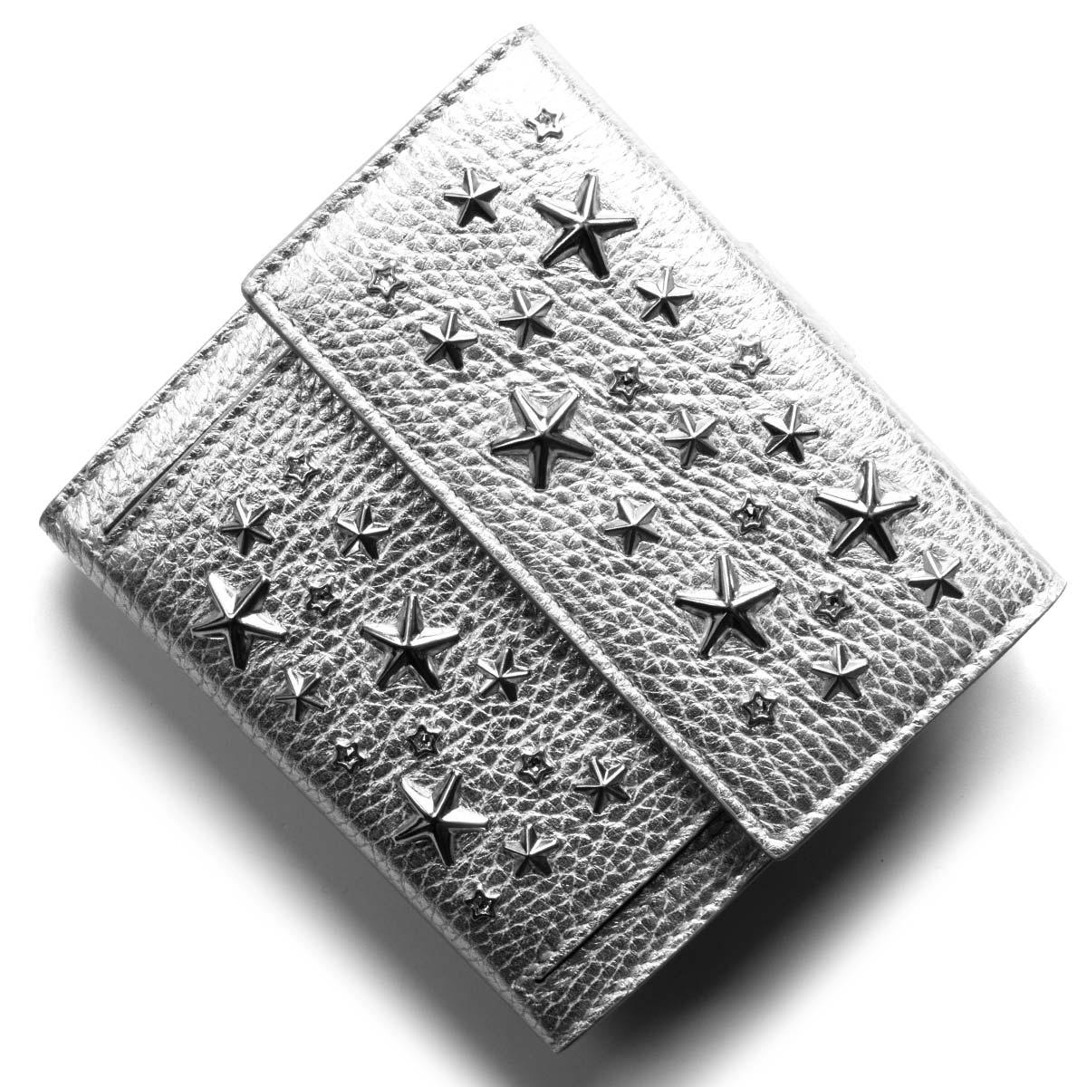 ジミーチュウ 二つ折り財布 財布 レディース フリーダ クリスタル スター スタッズ シルバー FRIDA WDS AA0009 SILVER JIMMY CHOO