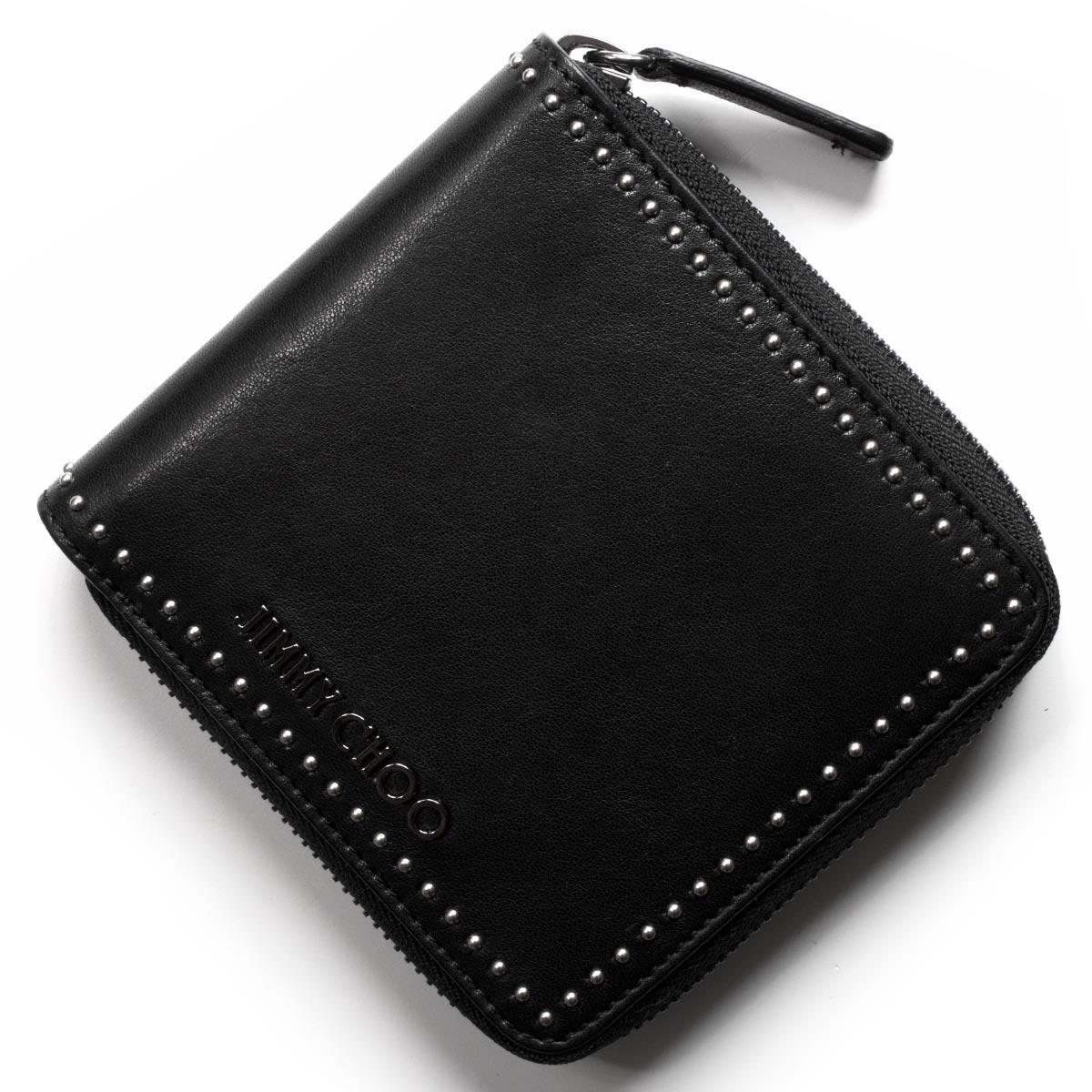 ジミーチュウ 二つ折り財布 財布 メンズ レディース ローレンス ミニ スタッズ ブラック LAWRENCE TIA 163 BLACK JIMMY CHOO