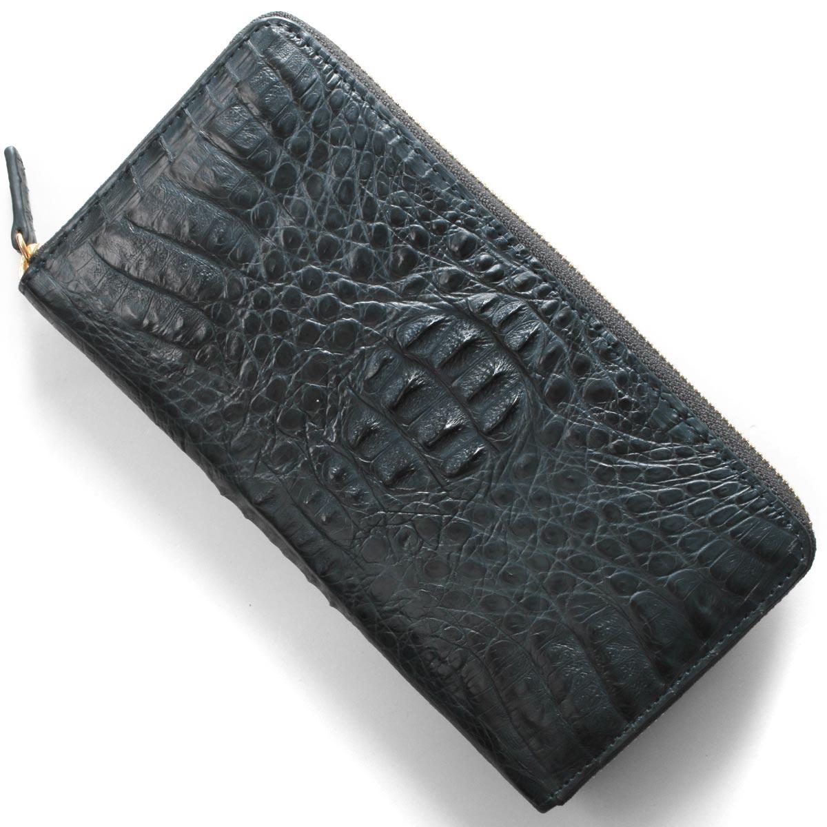 本革 長財布 財布 メンズ レディース カイマンワニ ネイビーマット CJN0477A NVMT Leather