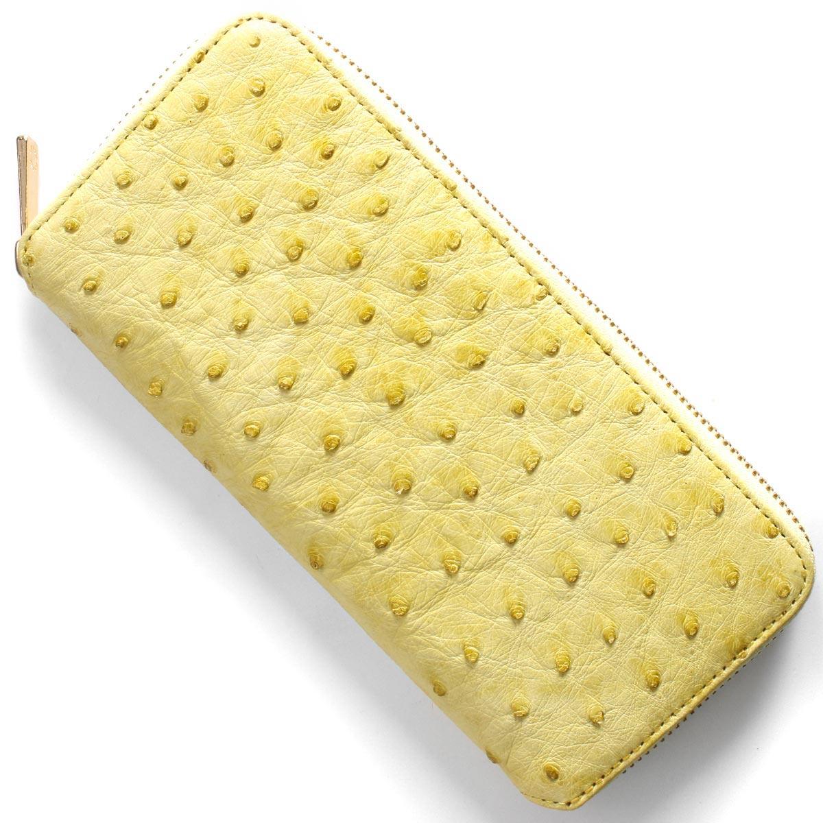本革 長財布 財布 レディース オーストリッチ イエロー CROS002 YEL Leather