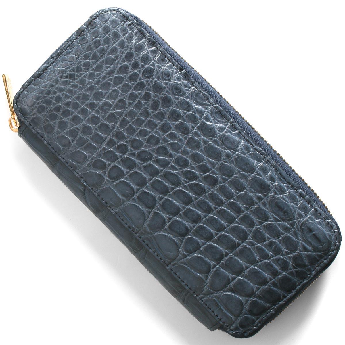 本革 長財布 財布 メンズ レディース クロコ ネイビーブルー CRS163JG NVY Leather