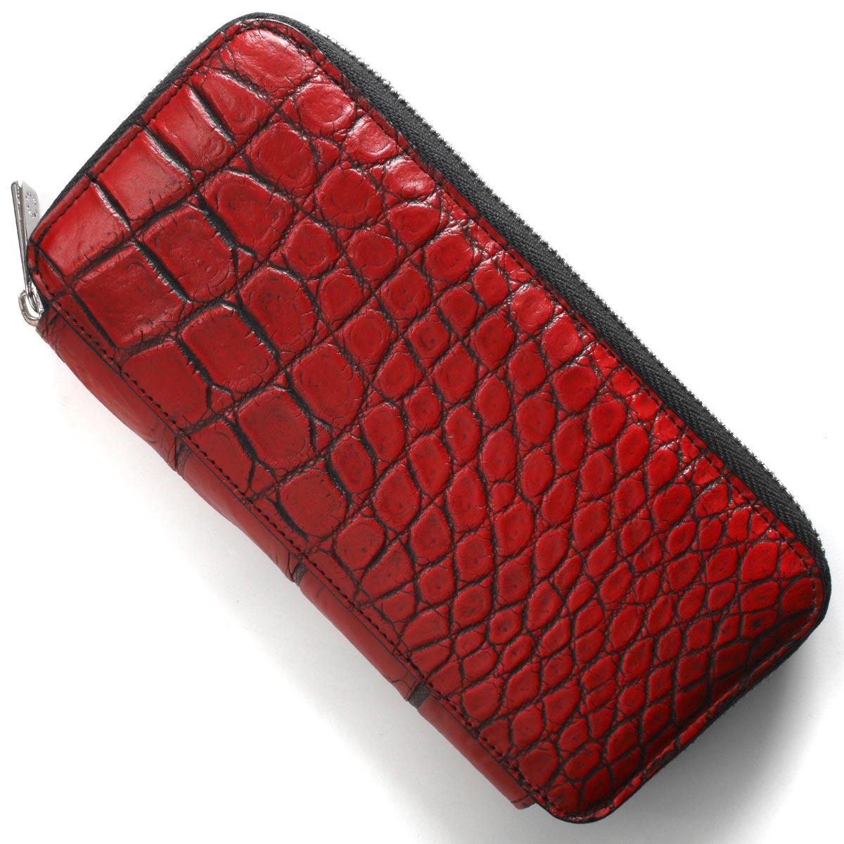 本革 長財布 財布 メンズ レディース クロコ レッド&ブラック DRS163 RDBK Leather