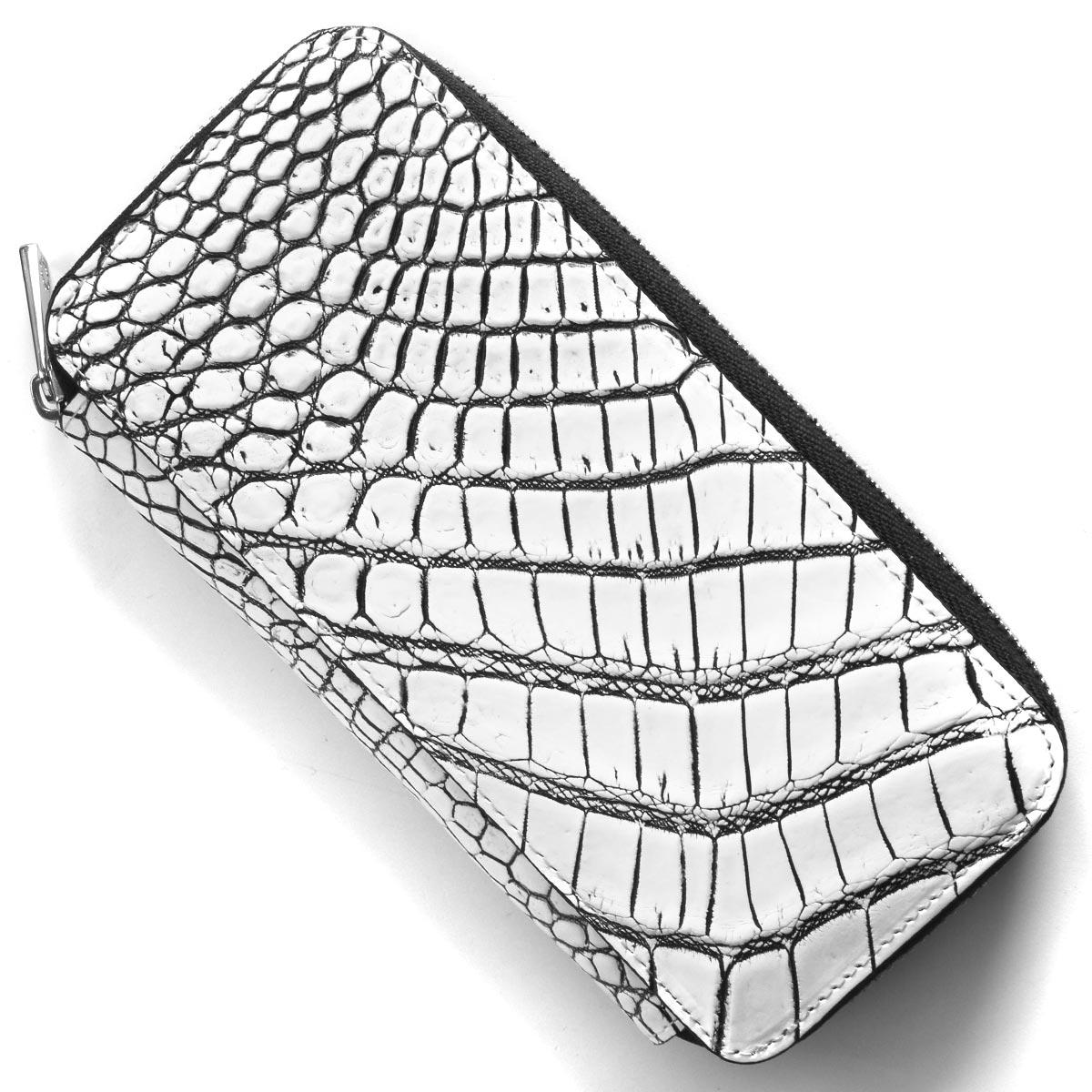 【1/1~1/2限定!1,000円OFFクーポン対象】本革 長財布 財布 メンズ レディース クロコ ホワイト&ブラック DRS163 WHBK Leather
