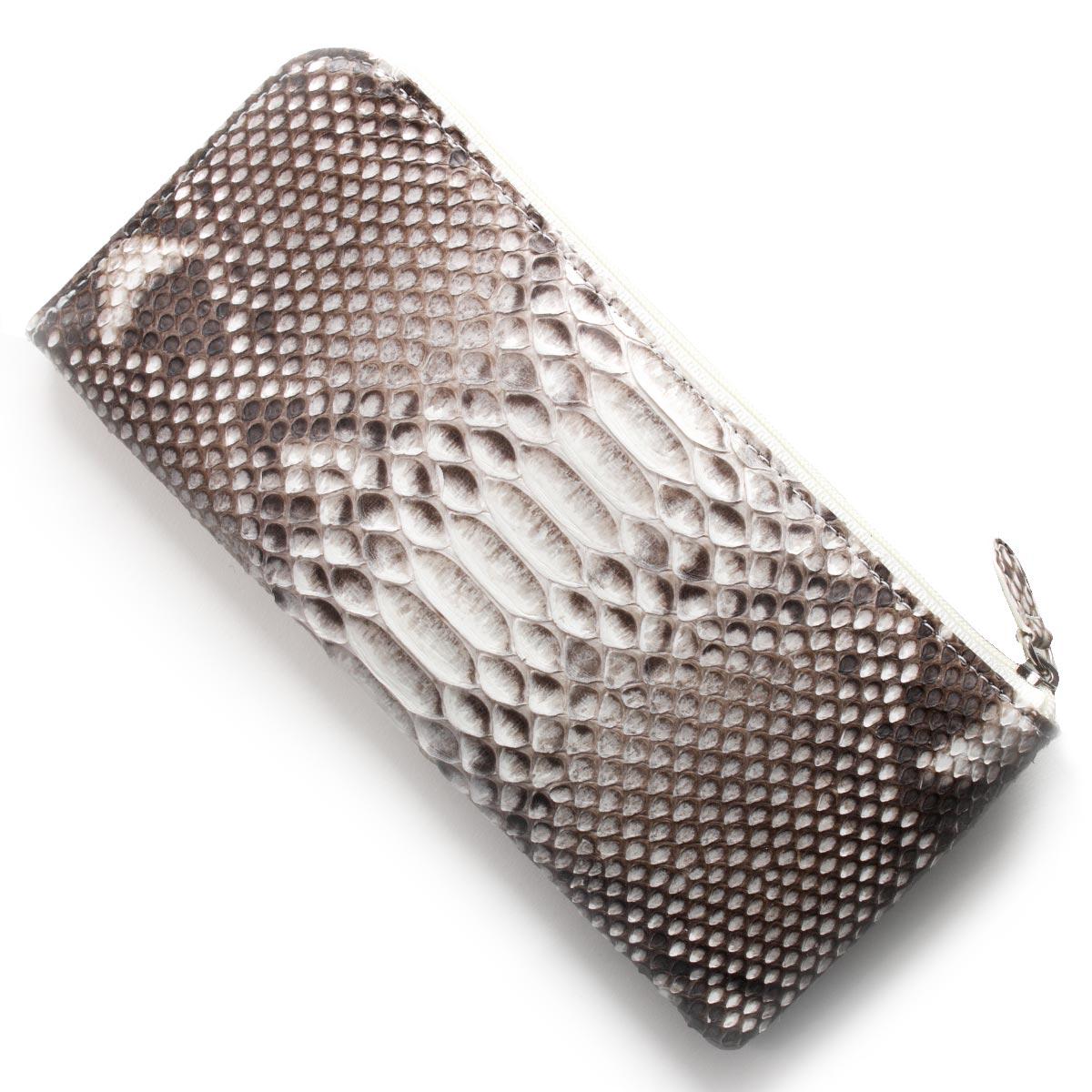 本革 長財布 財布 メンズ レディース パイソン ナチュラル OKU7165 NAL Leather