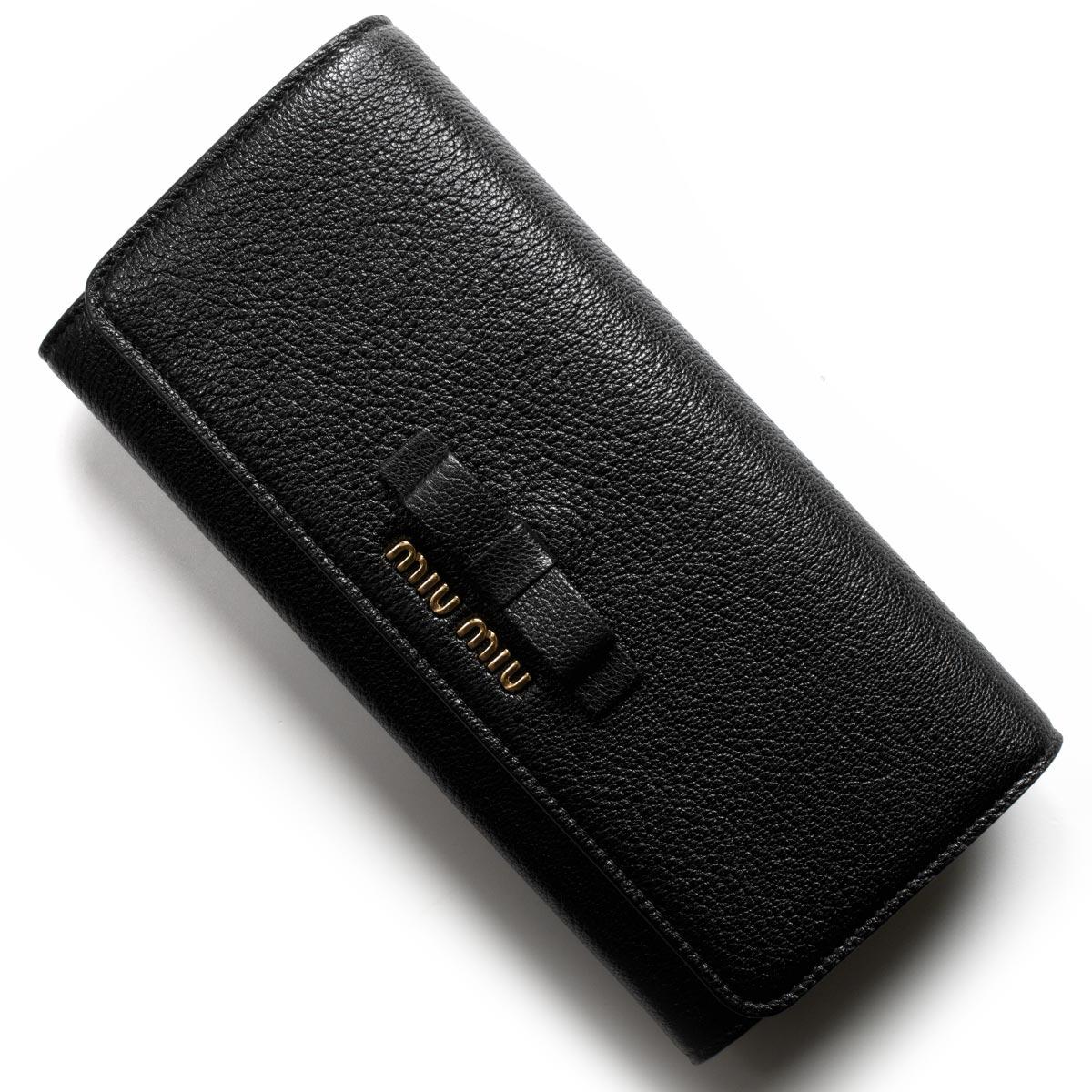 ミュウミュウ 長財布 財布 レディース マドラス フィオーコ リボン ブラック 5MH109 3R7 F0002 MIU MIU