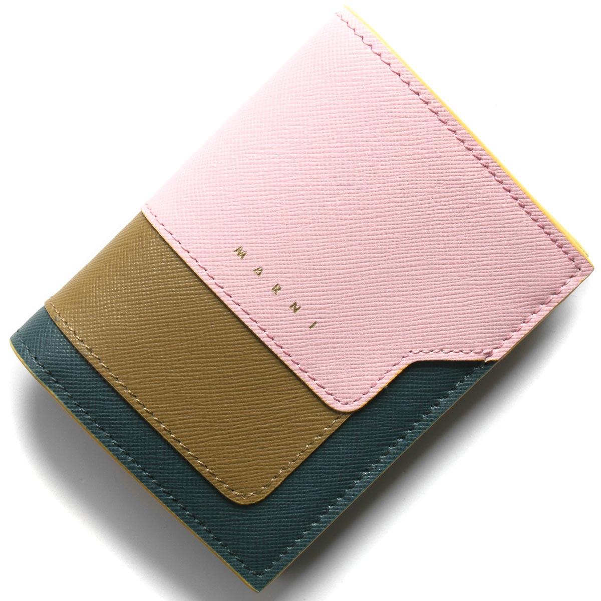 マルニ 二つ折り財布 財布 レディース スクエア シンダーローズ&タイムカーキ&ペトロリウムブルーグリーン&デューンベージュ PFMOQ14U13 LV520 Z272Y 2020年春夏新作 MARNI