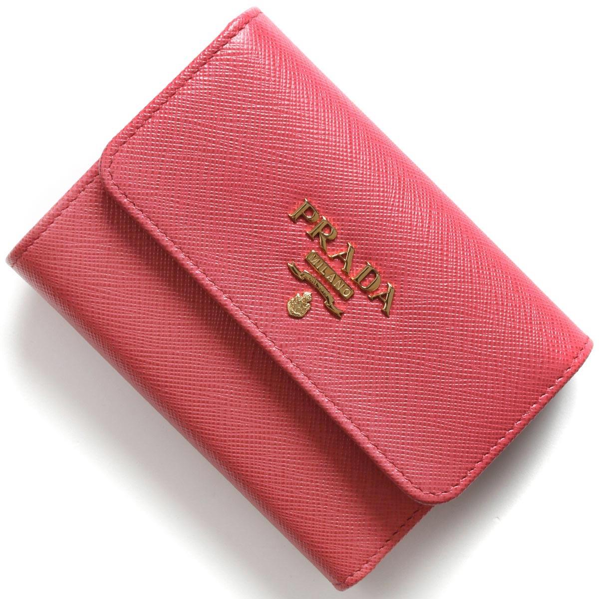 プラダ 三つ折り財布 財布 レディース サフィアーノ メタル ペオニアピンク 1MH025 QWA F0505 PRADA
