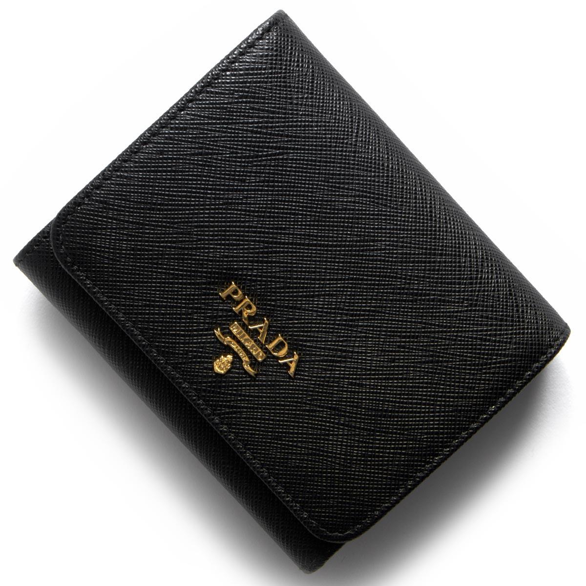 送料無料 プラダ PRADA 財布 三つ折り財布 1MH176 QWA 推奨 オンラインショッピング レディース F0002 メタル 新品 サフィアーノ ブラック