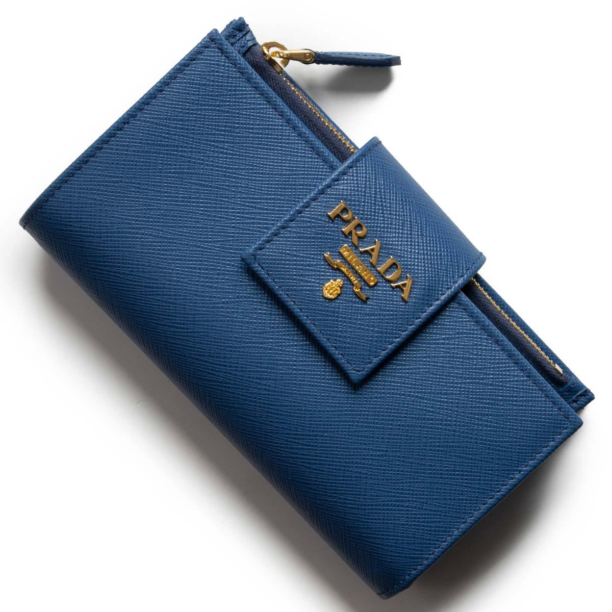 プラダ 二つ折り財布/長財布 財布 レディース サフィアーノ メタル アズーロブルー 1ML005 QWA F0013 PRADA