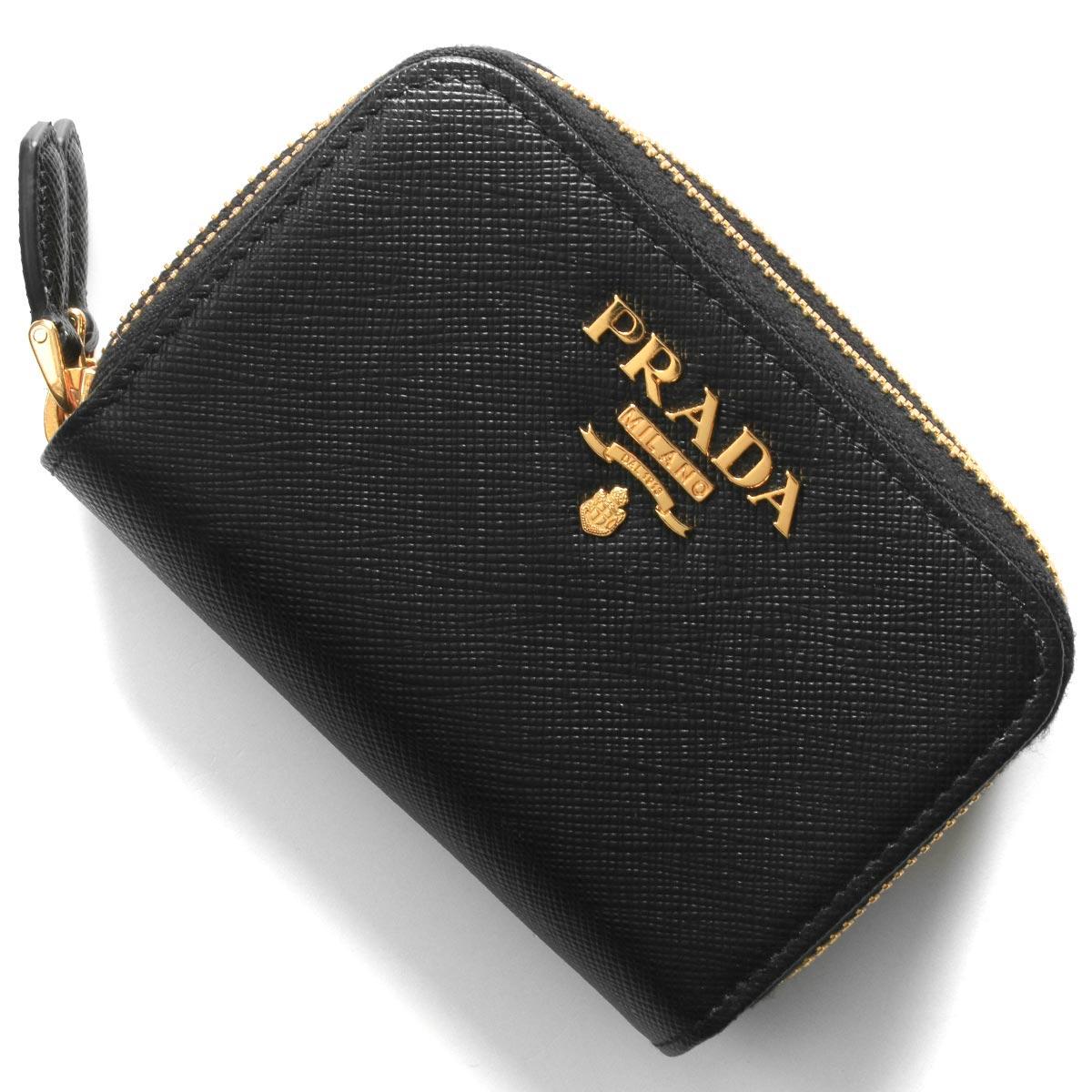 プラダ コインケース(小銭入れ)/カードケース 財布 レディース サフィアーノ メタル ブラック 1ML039 QWA F0002 PRADA