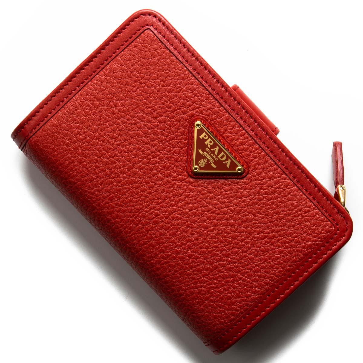 プラダ 二つ折り財布 財布 レディース ヴィッテロ フェニックス 三角ロゴプレート ロッソレッド 1ML225 2B16 F0011 2019年春夏新作 PRADA