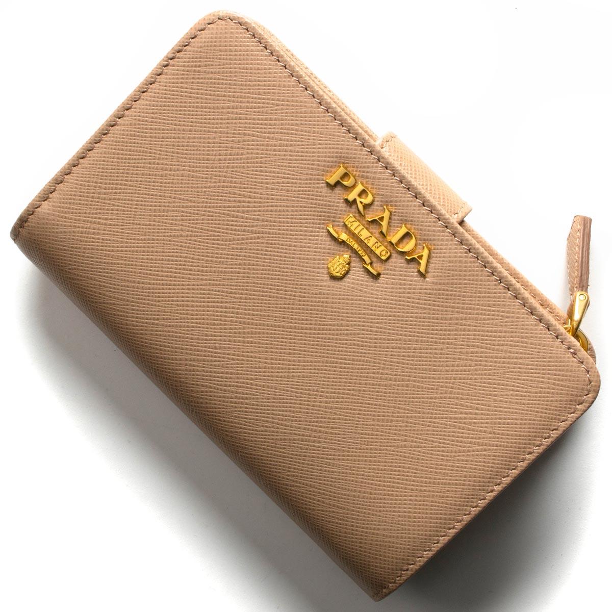 プラダ 二つ折り財布 財布 レディース サフィアーノ メタル チプリアピンクページュ 1ML225 QWA F0236 2019年春夏新作 PRADA
