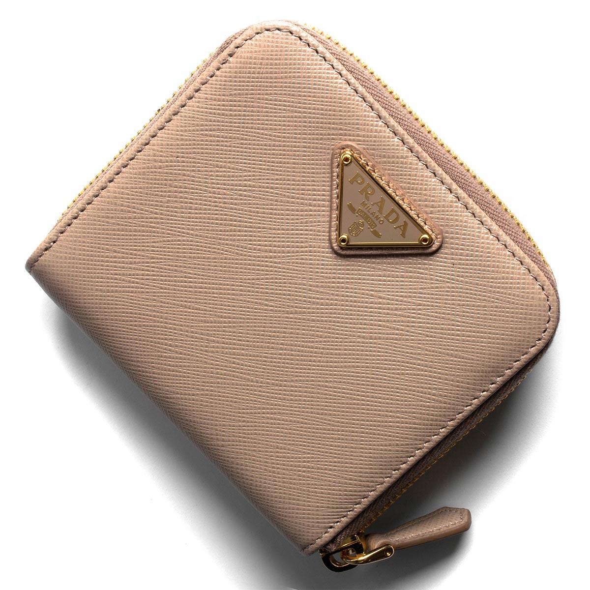 3a5e26d008d0 プラダ 二つ折り財布 財布 レディース サフィアーノ トライアングル 三角ロゴプレート チプリアピンクページュ 1ML522 QHH F0236  PRADA