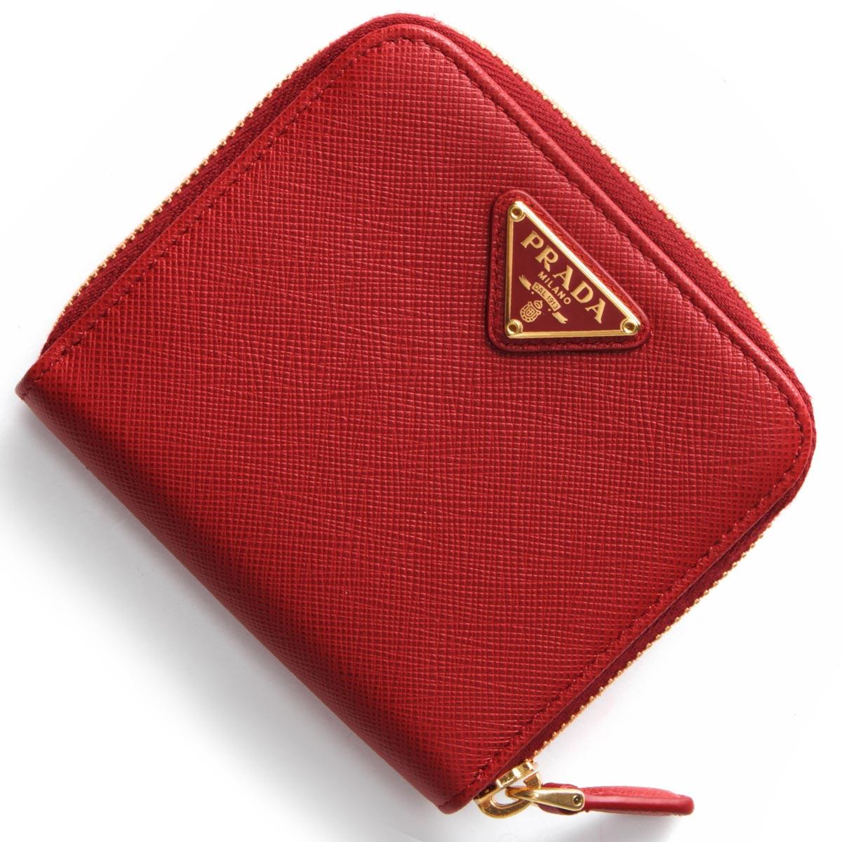 プラダ 二つ折り財布 財布 レディース サフィアーノ トライアングル 三角ロゴプレート フォーコレッド 1ML522 QHH F068Z PRADA