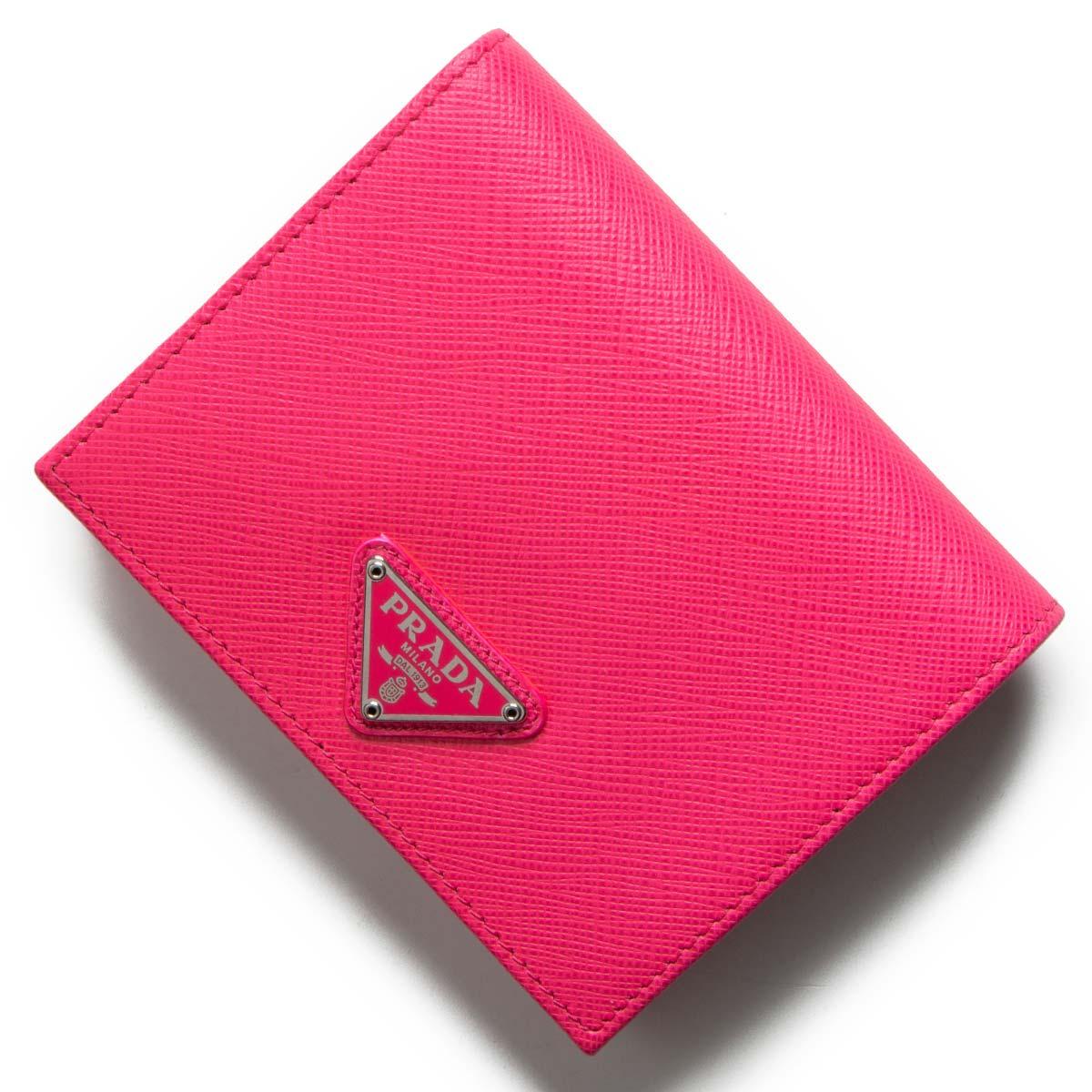 プラダ 二つ折り財布 財布 レディース サフィアーノ トライアングル 三角ロゴプレート ローザフルーネオンピンク 1MV204 QHH F0F90 PRADA