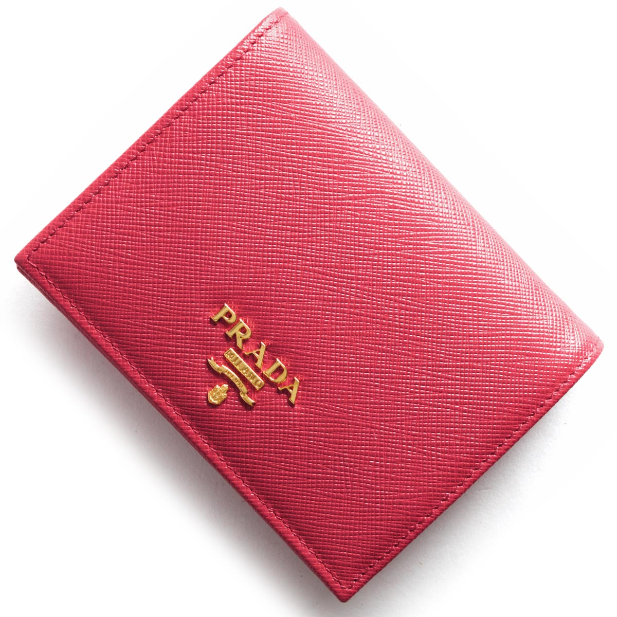 プラダ 二つ折り財布 財布 レディース サフィアーノ メタル SAFFIANO METAL ペオニアピンク 1MV204 QWA F0505 PRADA