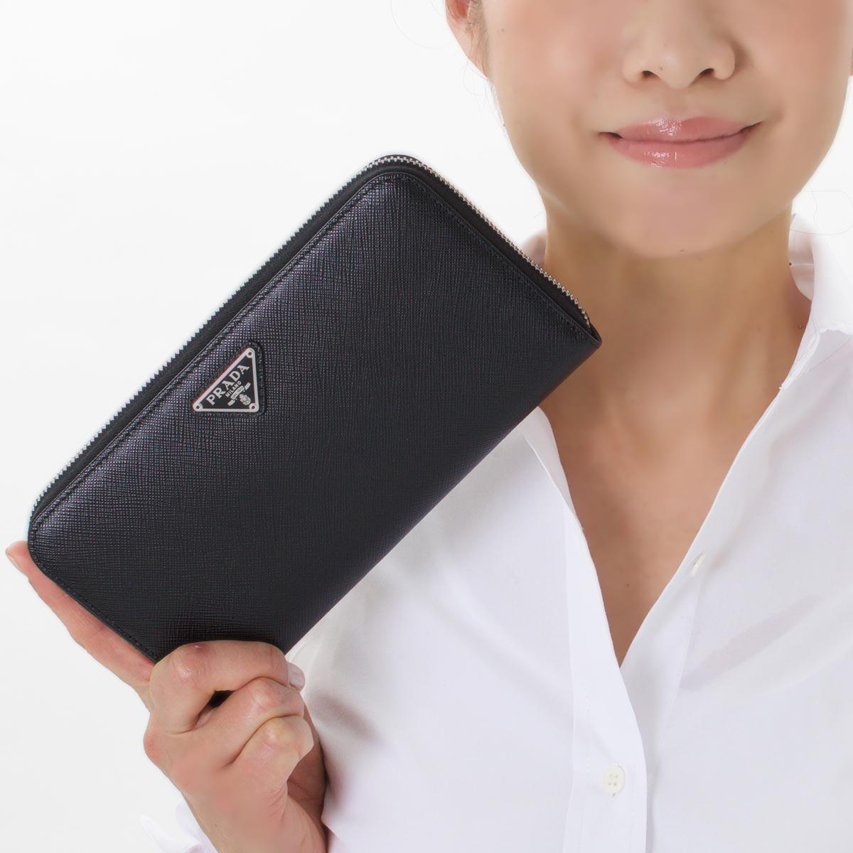 プラダ 長財布 財布 メンズ レディース SAFFIANO TRIANG ブラック 1ML506 QHH F0632 PRADAv80nmNw