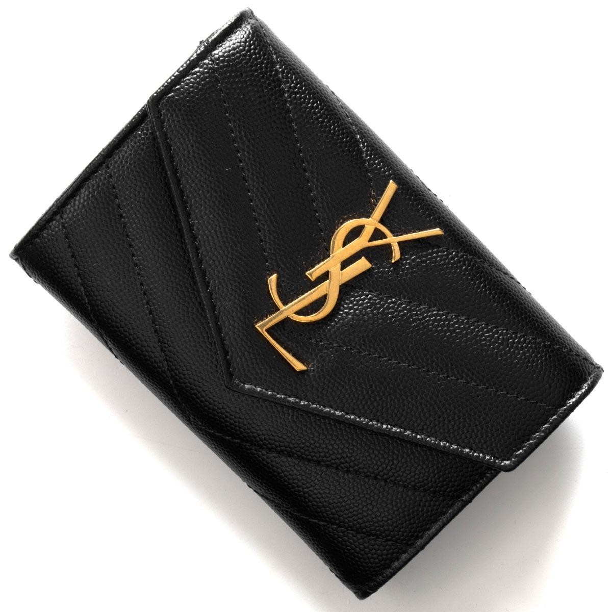 あす楽送料無料 お得クーポン発行中 サンローランパリ イヴサンローラン ミニ財布 カードケース 名刺入れ 財布 レディース モノグラム 1000 卓抜 YSL LAURENT SAINT ブラック PARIS BOW01 414404