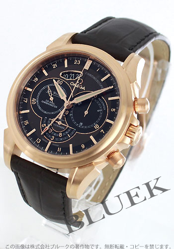オメガデビルコーアクシャルクロノスコープ RG pure gold leather brown & black men 422.53.44.52.13.001