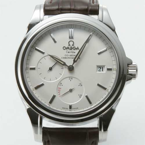 Omega-Devil co-axial power reserve leather dark brown / white men's 4832.31.32