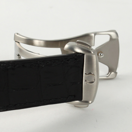 4848.40.31 Xmas sale ★ オメガデビルコーアクシャルラトラパンテ chronograph leather black / gray & silver men