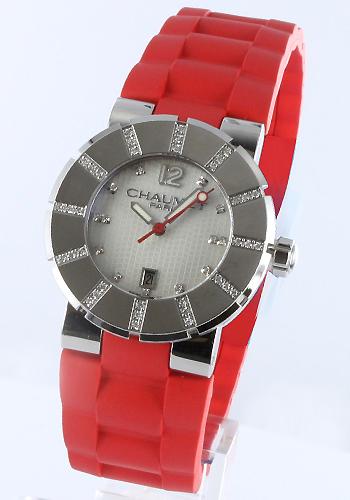 ショーメクラスワンダイヤモンドラバーバーミリオン / white shell Lady's W1722W-33I watch clock