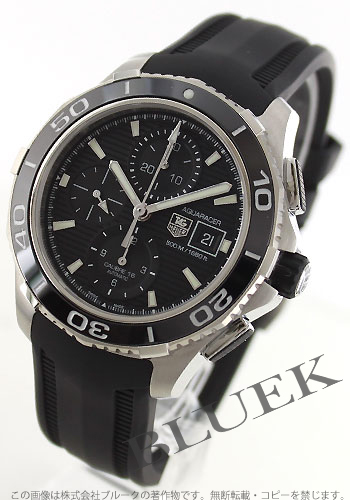 Tag Heuer Aquaracer ceramic bezel automatic chronograph 500 m water resistant rubber black mens CAK2110... FT8019