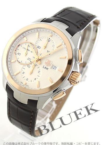 16 タグホイヤーリンクキャリバー RG combination automatic chronograph leather brown / silver men CAT2050.FC6322