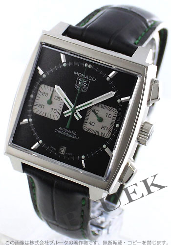 タグホイヤーモナコキャリバー 12 automatic chronograph alligator leather black & gray men CAW2117.FC6271