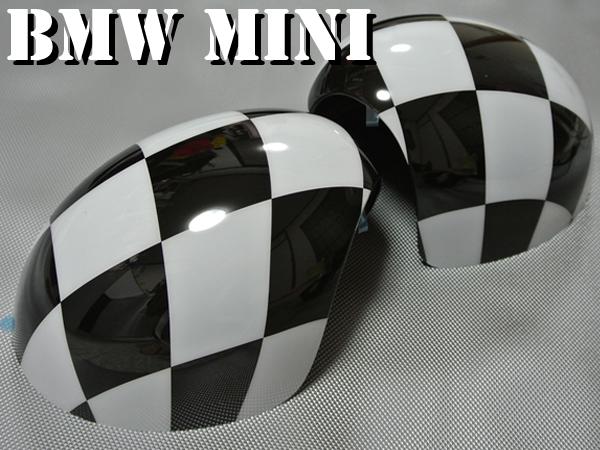 ポイント10倍 BMW MINI ミニ ドアミラーカバー 左右セット チェッカーフラッグ R56 R55 R60 チェック柄 ミニクーパー クロスオーバー 10P05Nov16