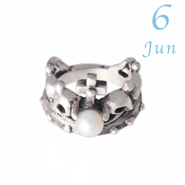 誕生石を選んで刻印できるオンリー1のベビーリング[刻印可能] 【王冠のベビーリング】6月誕生石パール・シルバー925/クラウン/プレゼントに