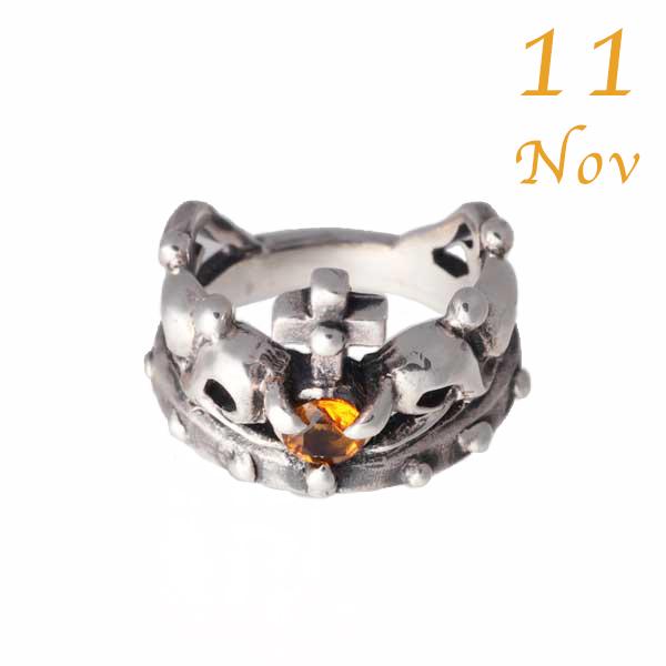 【王冠のベビーリング】11月誕生石シトリン・シルバー925/クラウン/プレゼントに 【コンビニ受取対応商品】