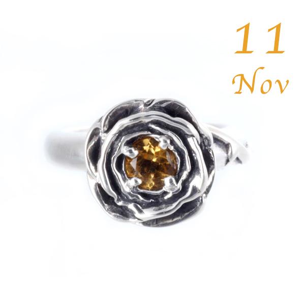 【バラの花のベビーリング】 11月誕生石シトリン・シルバー925/ROSE(ローズ)【コンビニ受取対応商品】