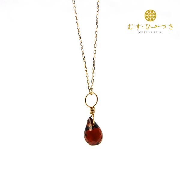 ガーネット 天然石ネックレス K10【コンビニ受取対応商品】