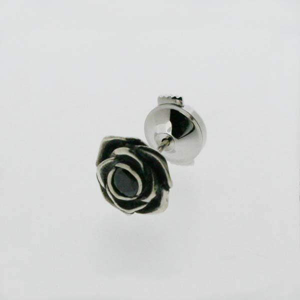 【シルバーピンブローチ】バラのブローチ ブラックキュービック シルバー925 メンズ レディース ラペルピン / Black Rose(ブラックローズ)【コンビニ受取対応商品】