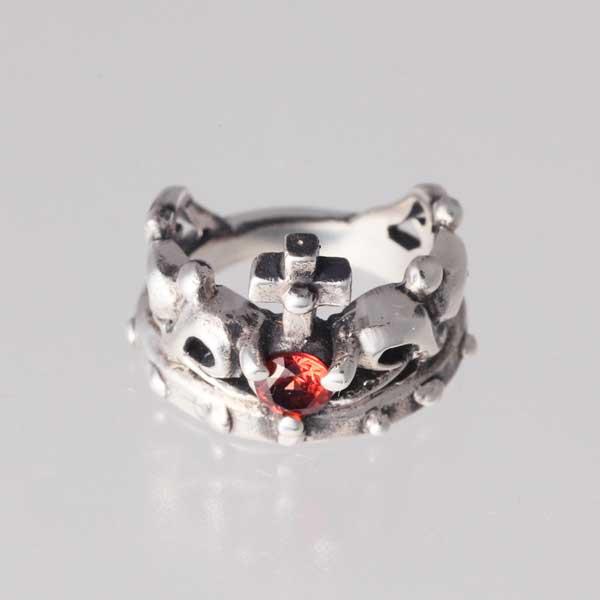 【ピンキーリング】王冠のピンキー 1月 誕生石 ガーネット シルバー925 指輪 シンプル Crown【1号 2号~】【送料無料】【コンビニ受取対応商品】