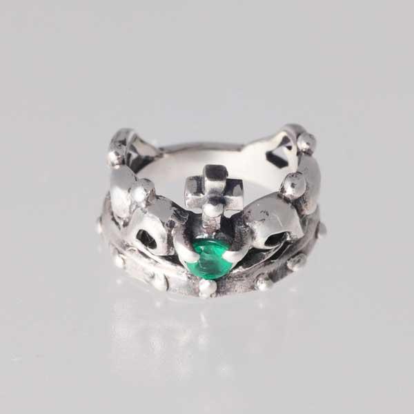 【ピンキーリング】王冠のピンキー 5月 誕生石 エメラルド シルバー925 指輪 crown【1号~】【送料無料】