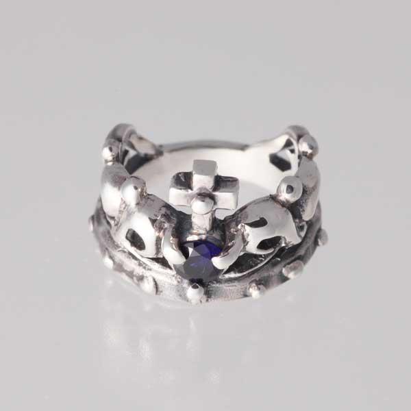 【ピンキーリング】王冠のピンキー 9月 誕生石 サファイア シルバー925 指輪 シンプル crown【1号~】【送料無料】