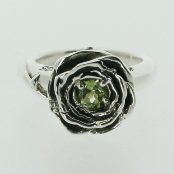 【ピンキーリング】バラのピンキー 8月 誕生石 ペリドット シルバー925 指輪 シンプル ROSE 薔薇【1号 2号~】【送料無料】【532P14Aug16】