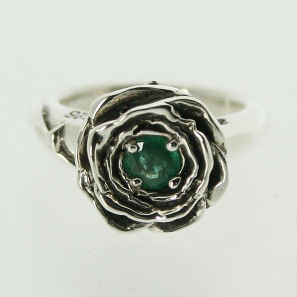 【ピンキーリング】バラのピンキー 5月 誕生石 エメラルド シルバー925 指輪 シンプル ROSE 薔薇【1号 2号~】【送料無料】