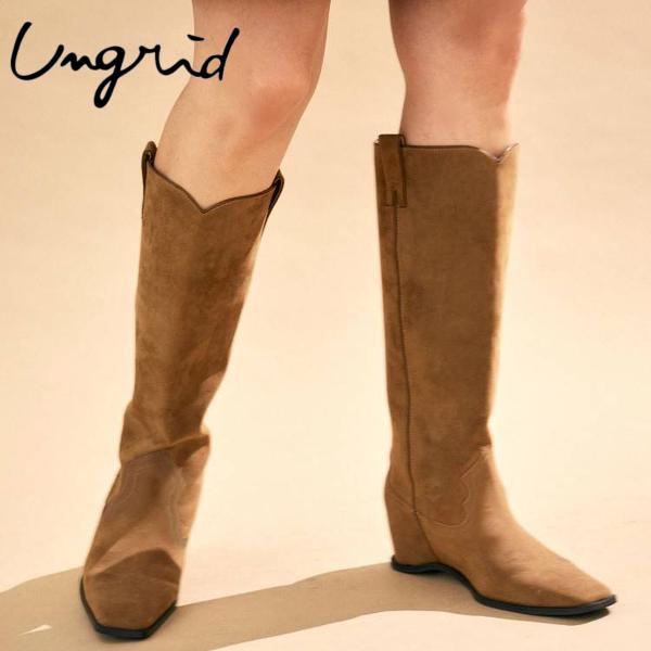 UNGRID アングリッド 本物 レディース 靴 贈答品 ブーツ シューズ Ungrid ≪8月3日予約開始≫ アングリッドインソールデザインウエスタンブーツ 2021AW新作予約 112151816201