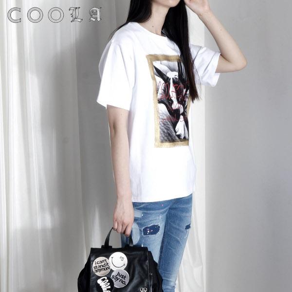 COOLA クーラ レディース トップス Tシャツ 半袖 犬 売り出し SALE セール 安全 CQ35002 クーラGoldペイントフレンチルーズTee 40%OFF あす楽